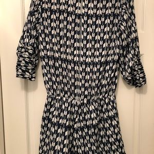 3/4 sleeve navy and white romper